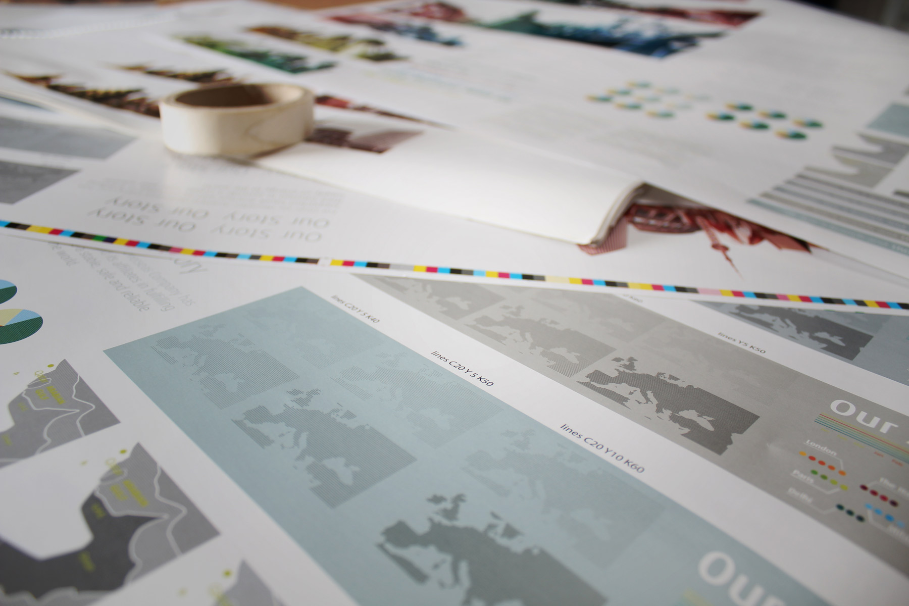All content for the brochure was carefully wet proofed - A process whereby all print colours can be measured as if coming straight off the press - By using a proofing press.