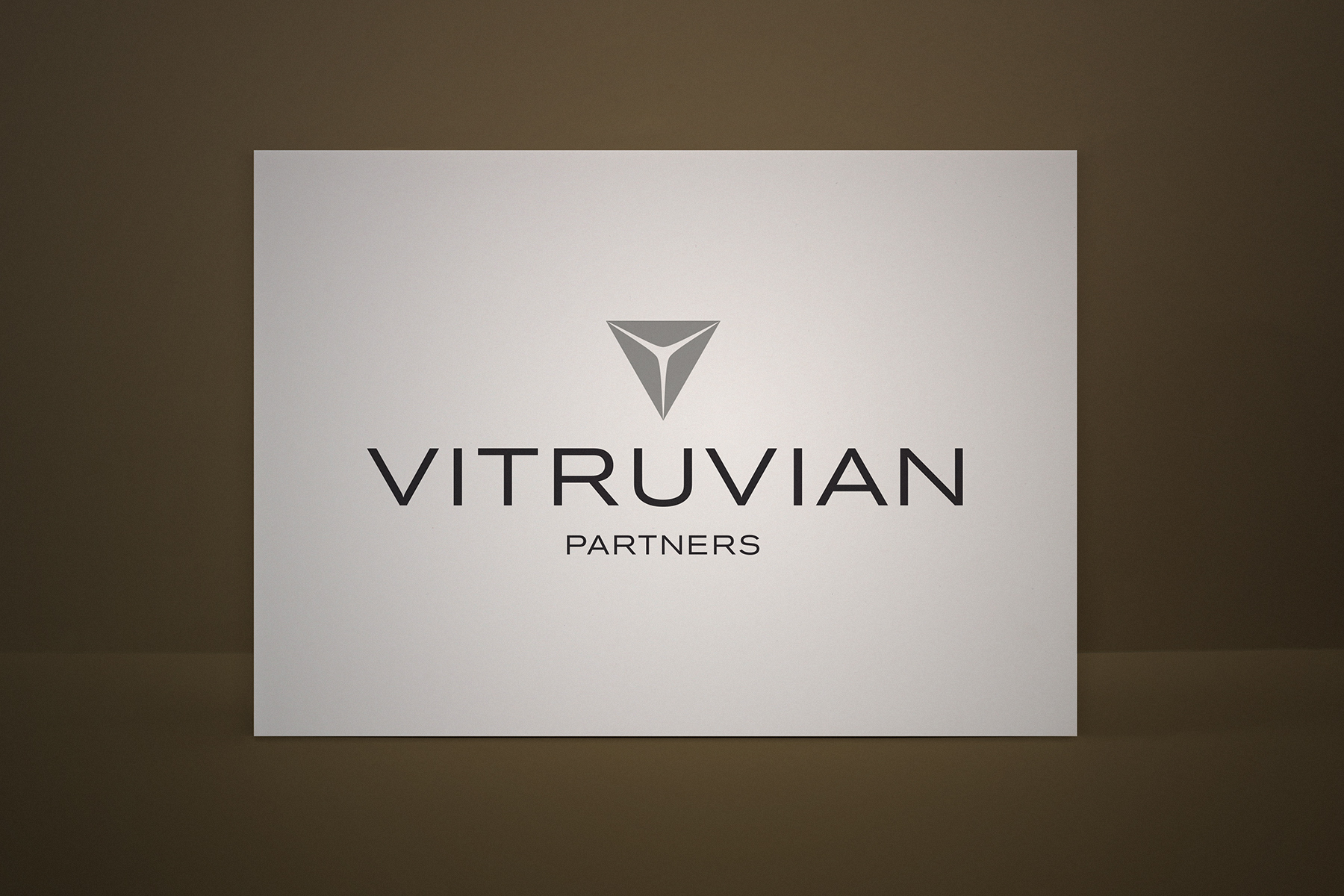 The final Vitruvian logo and icon conveys a formal yet intriguing brand spirit.
