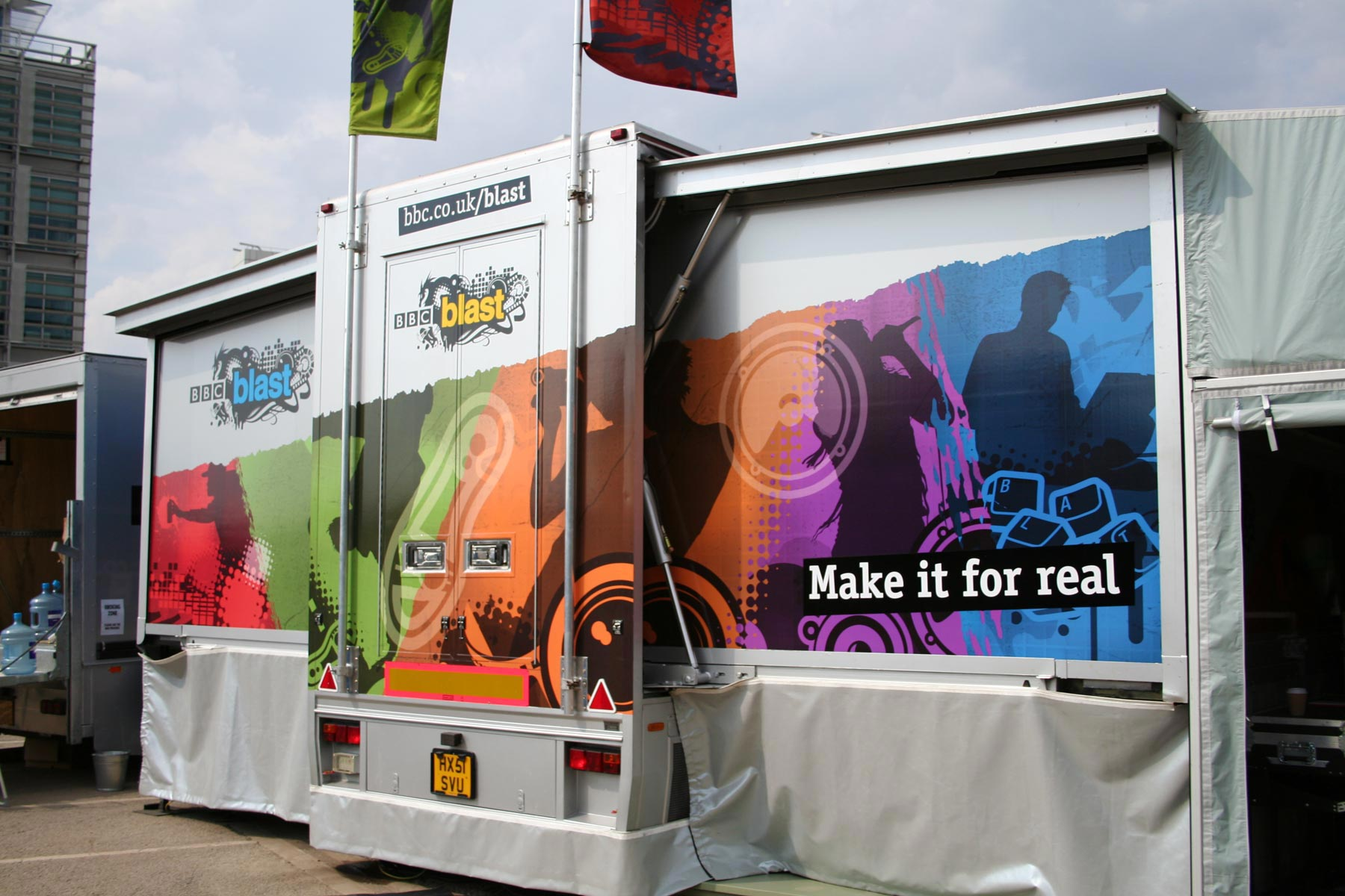 A powerful application for the brand was a set of articulated trucks which toured the UK for a period of eight months, designed to bring creativity to the far reaches of the community.