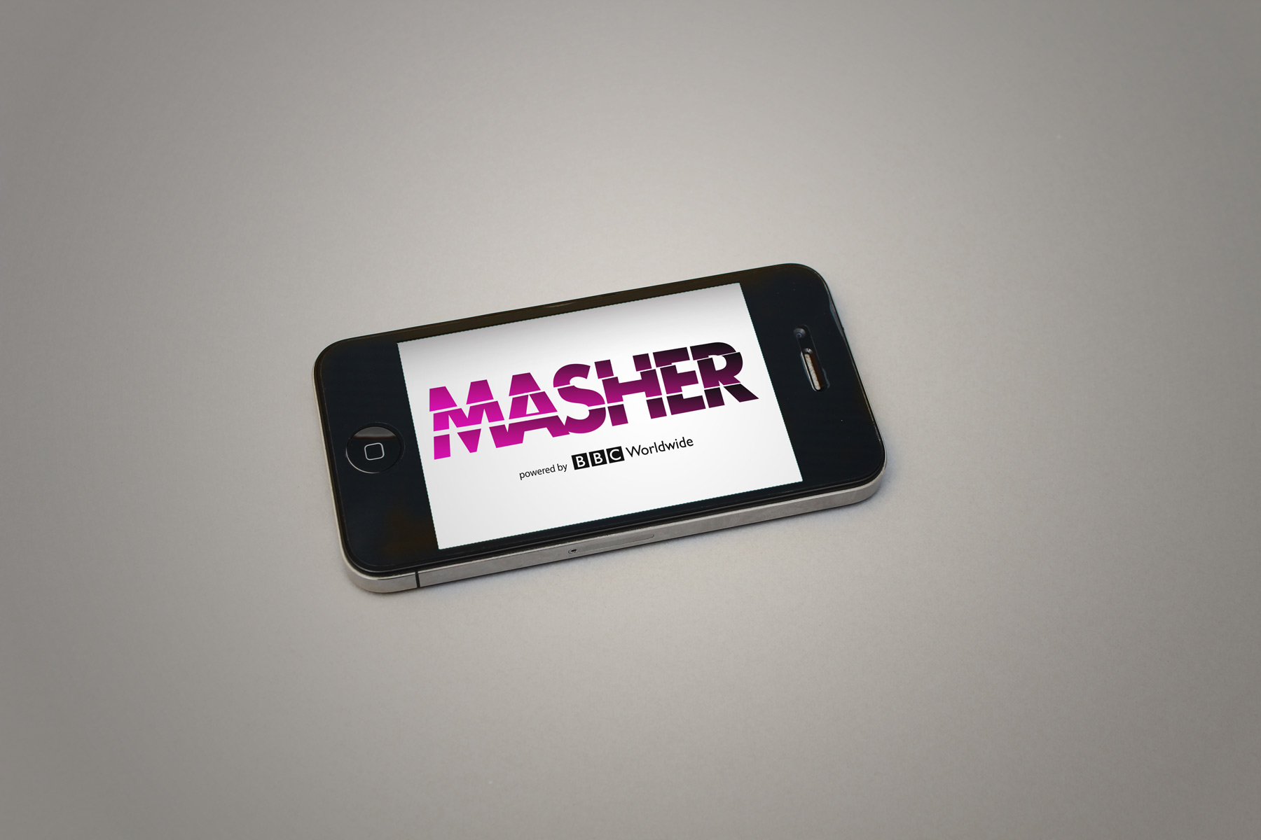 The Masher identity is inspired by the notion of dicing and slicing content - Hence the wordmark has been cut into numerous parts, a graphic representation of this idea.