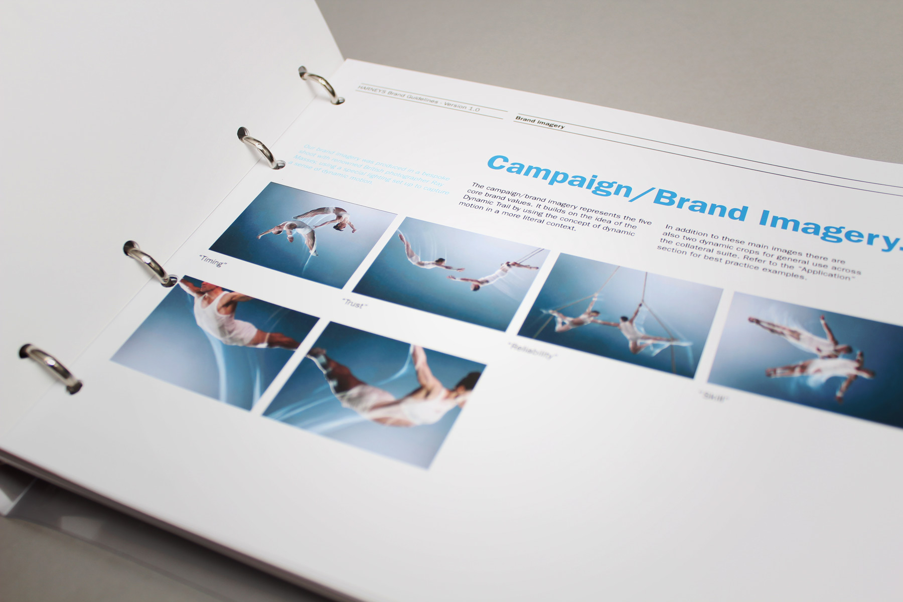 The suite of brand images captured the business values - Timing, Trust, Reliability, Skill.