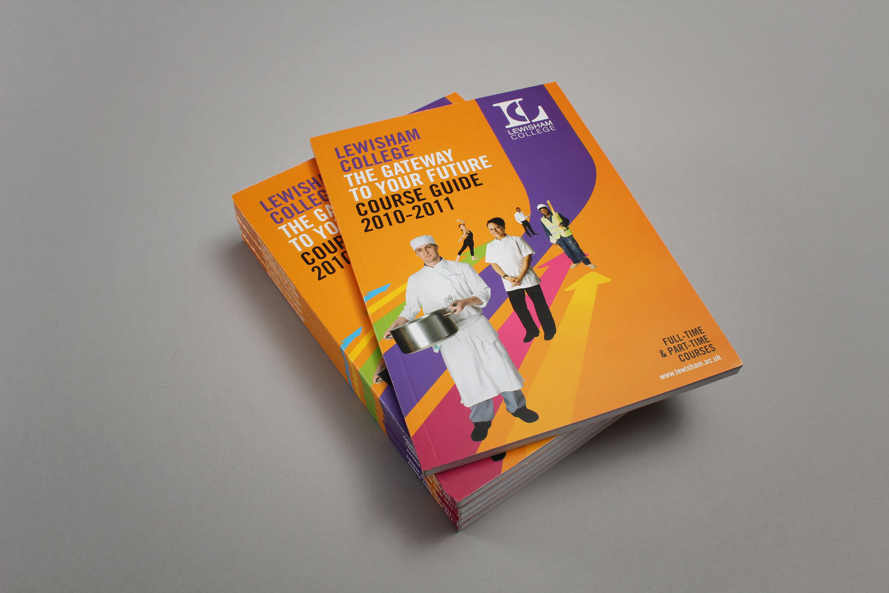 The course guide forms a natural extension to the Lewisham brand identity, also completed by Firedog.