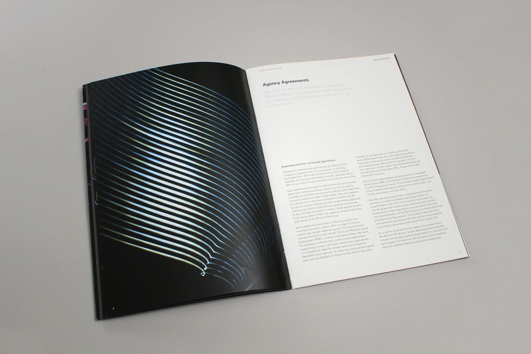 The brochure used imagery combined with a more formal and minimal text approach creating an business led publication.