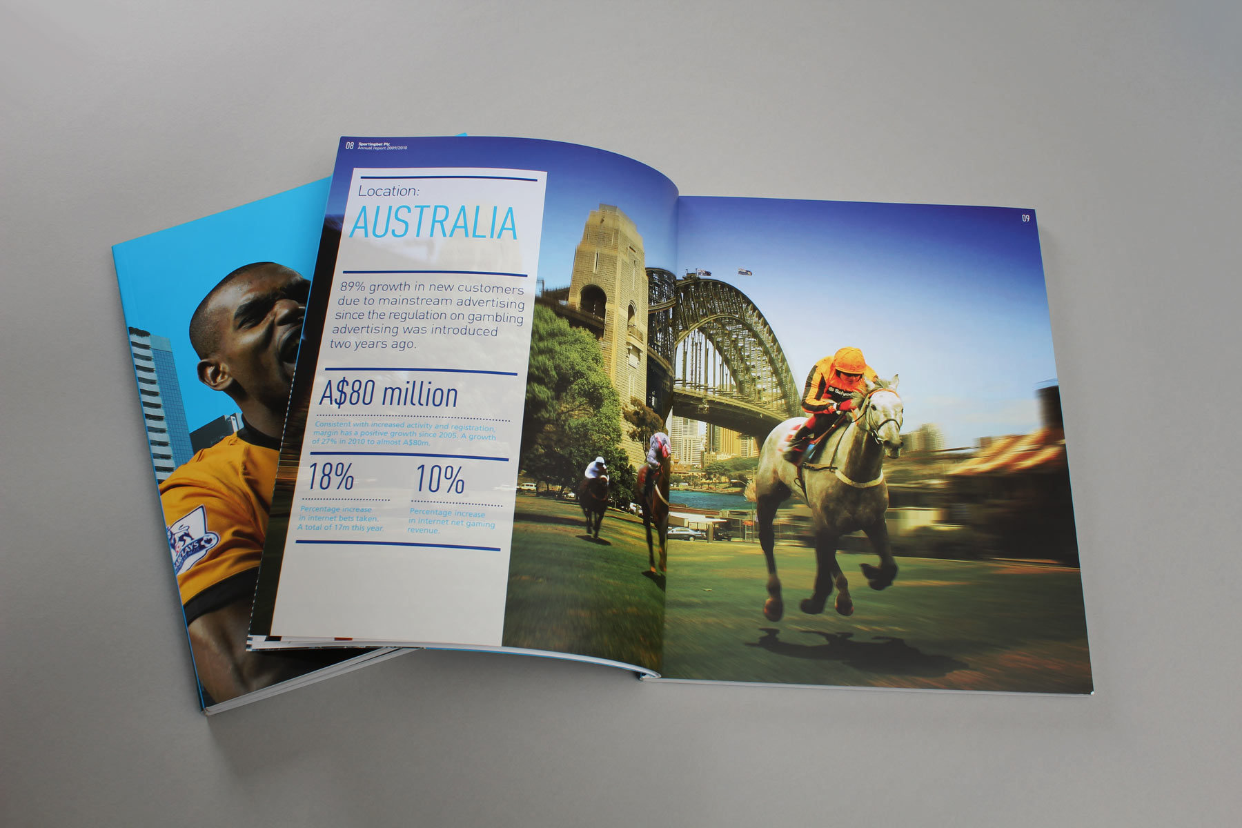 In Australia - Horseracing is the name of the game. On the left, regional facts and figures add weight to the image concept.