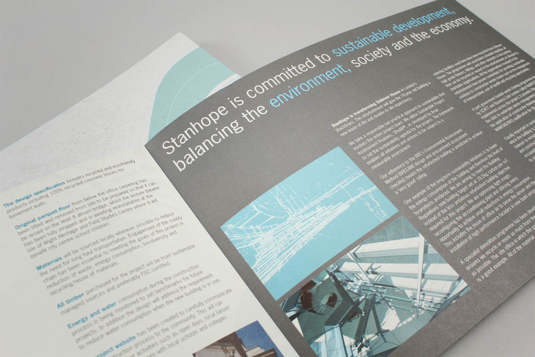 The communication featured information and diagrams conveying the Stanhope vision of building a future-fit, sustainable HQ for Unilever.