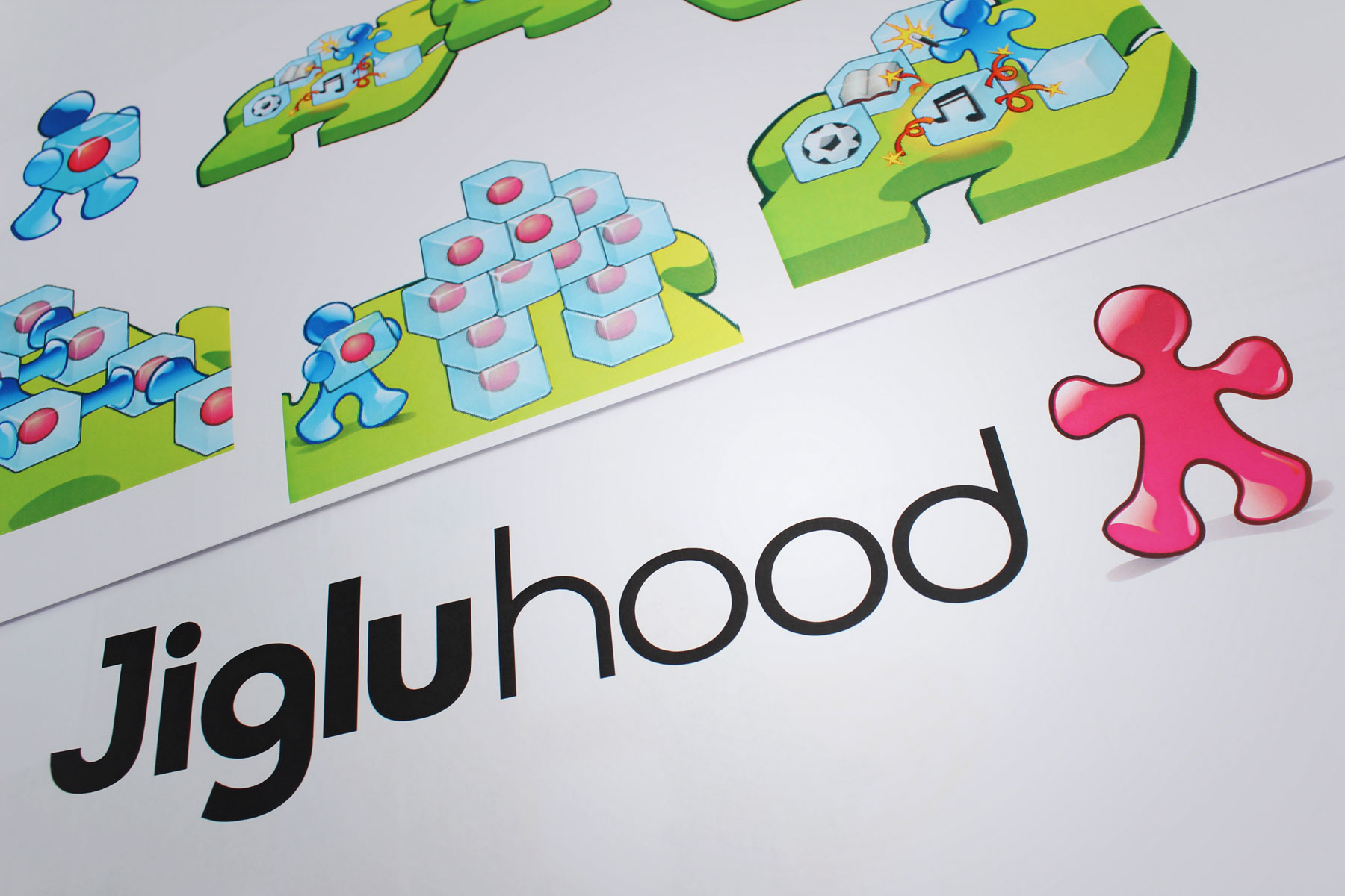 The brand was applied to the Jiglu social offering and supported by a number of community illustrations which conveyed the benefits of the product.