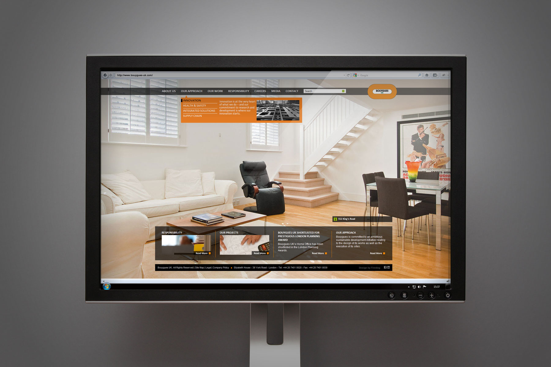 The resulting website harnesses a confident use of full screen imagery to project the quality behind the Bouygues product.