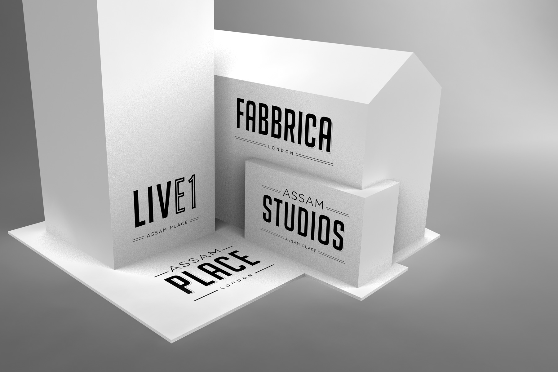 We created a series of brand identities which whilst able to work independently, also gave the development the ability to tactfully market separate propositions to varying audiences.