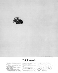 "Art Director Helmut Krone's ""think small"" campaign"