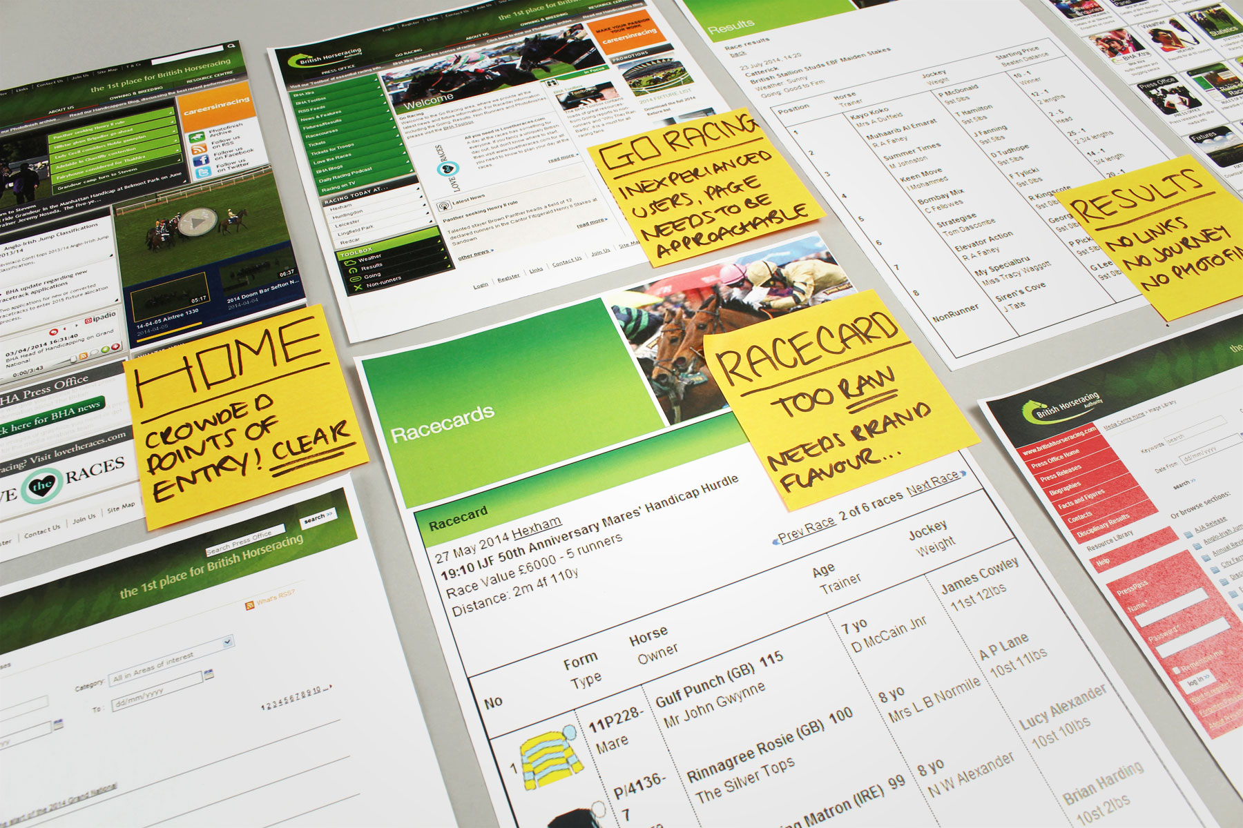 An initial audit was carried out across the BHA website. This included UI/UX, navigation and aesthetics.