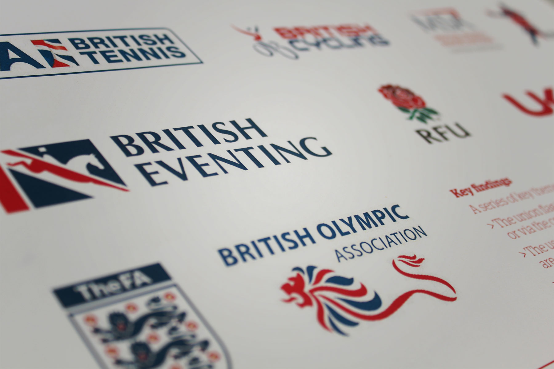 Research into governing bodies in sport highlighted the usage of caps and a consistent colour palette that represented Great Britain.