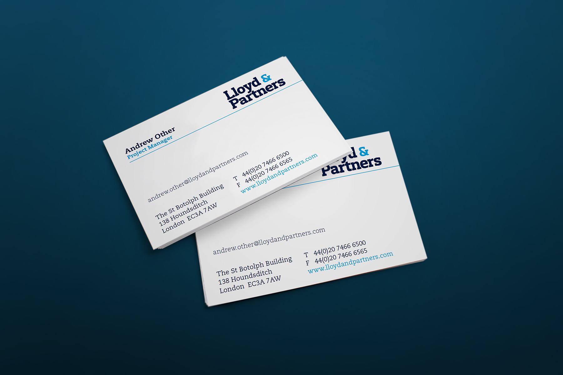 The business card is clear and concise, letting the other printed communications do the speaking.