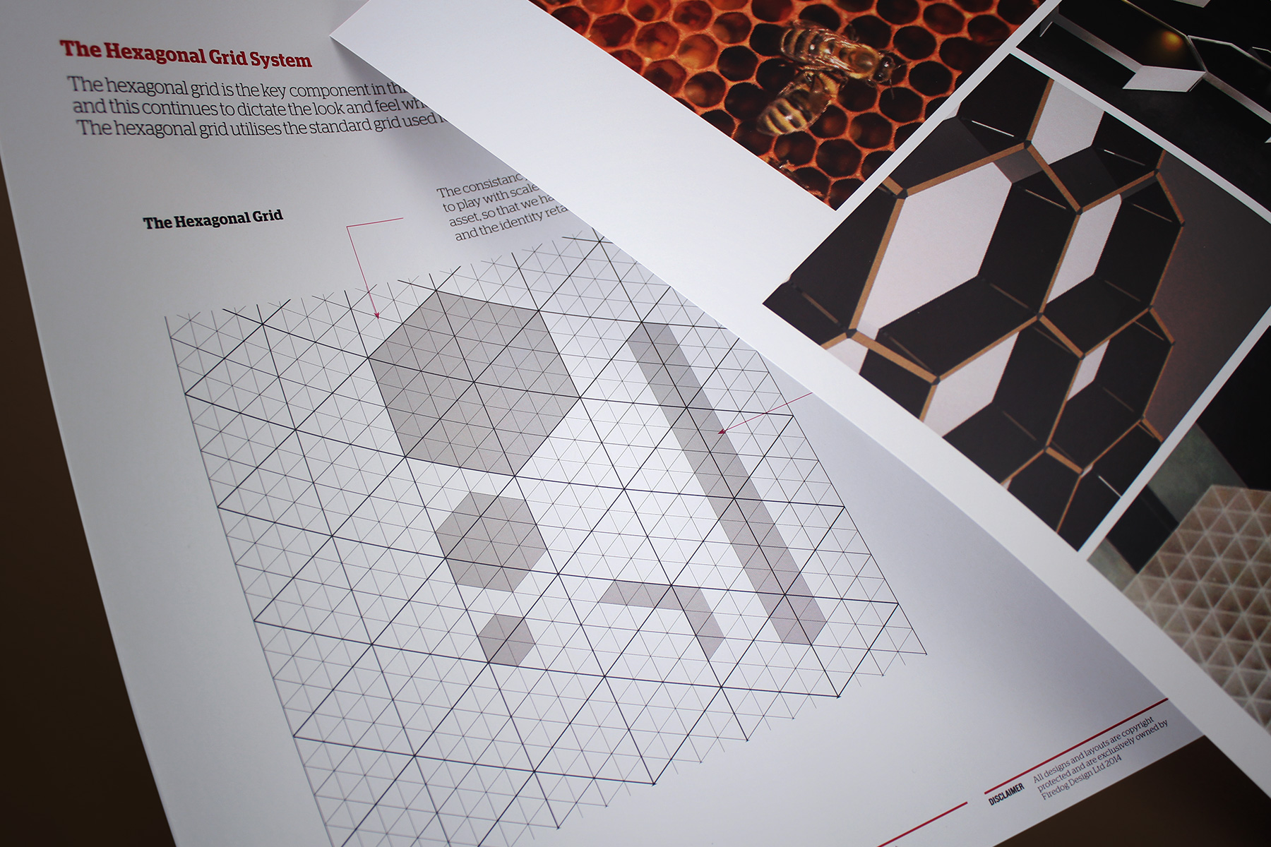 We created a flexible hexagonal grid which constrained the identity to particular angles, forms and functions.