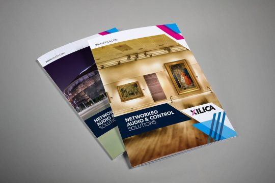 The Xilica audio branding applied to print communications