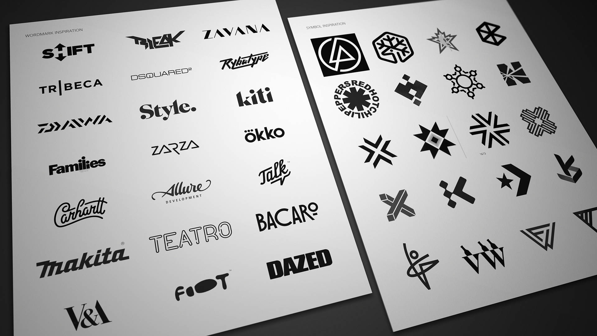We researched simple flat brands for inspiration.