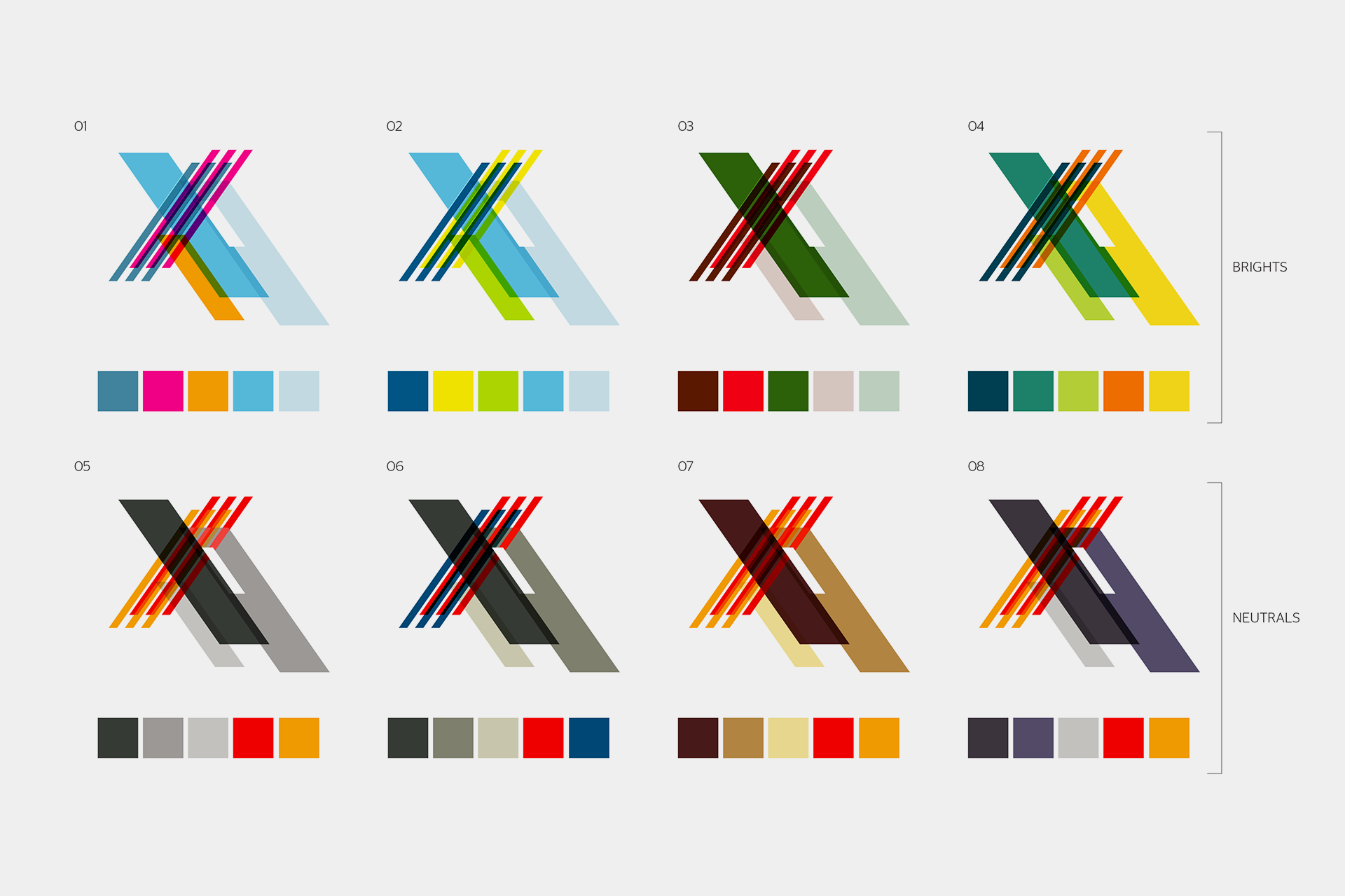 Once settling on a graphic device, the studio explored all the possible colour permutations.