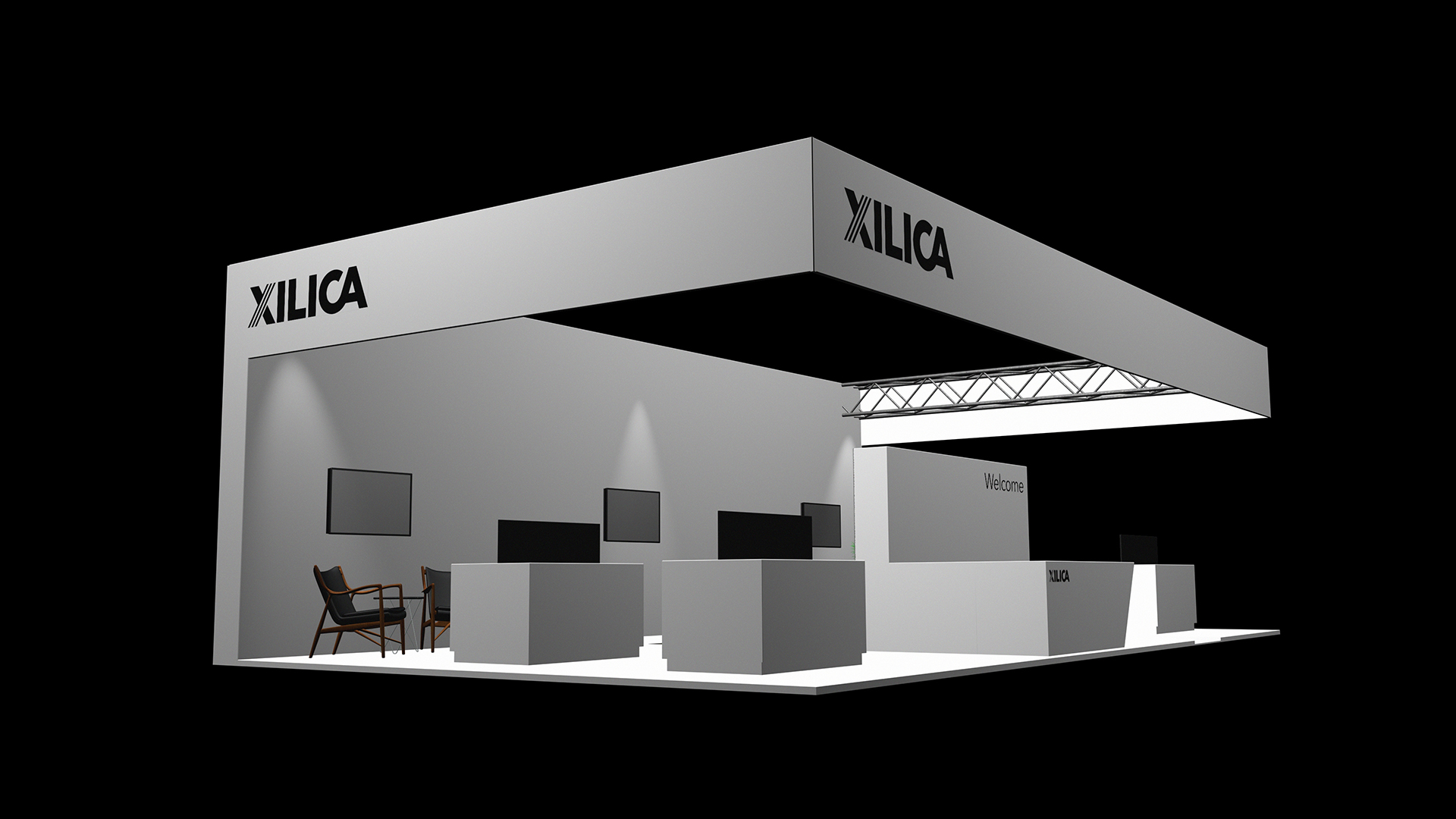 Simple three dimensional event stand designs which help the client visualise their sales environment.