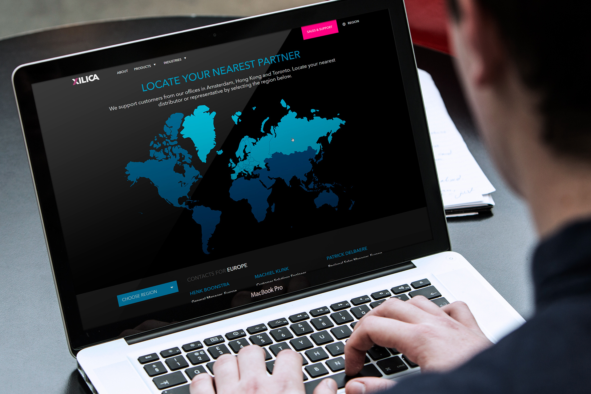 The website operates as a sales vehicle across six global regions.