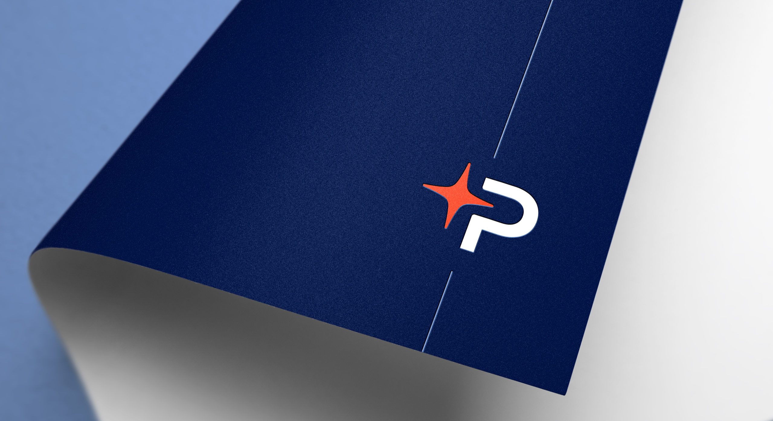 The branding can also be used as a decorative device whereby only the P initial and star element is used in conjunction with a blue line which anchors the element to page margins.